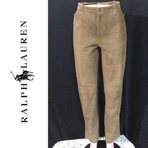 NWOT RALPH LAUREN Lined Suede Leather Jeans Pants